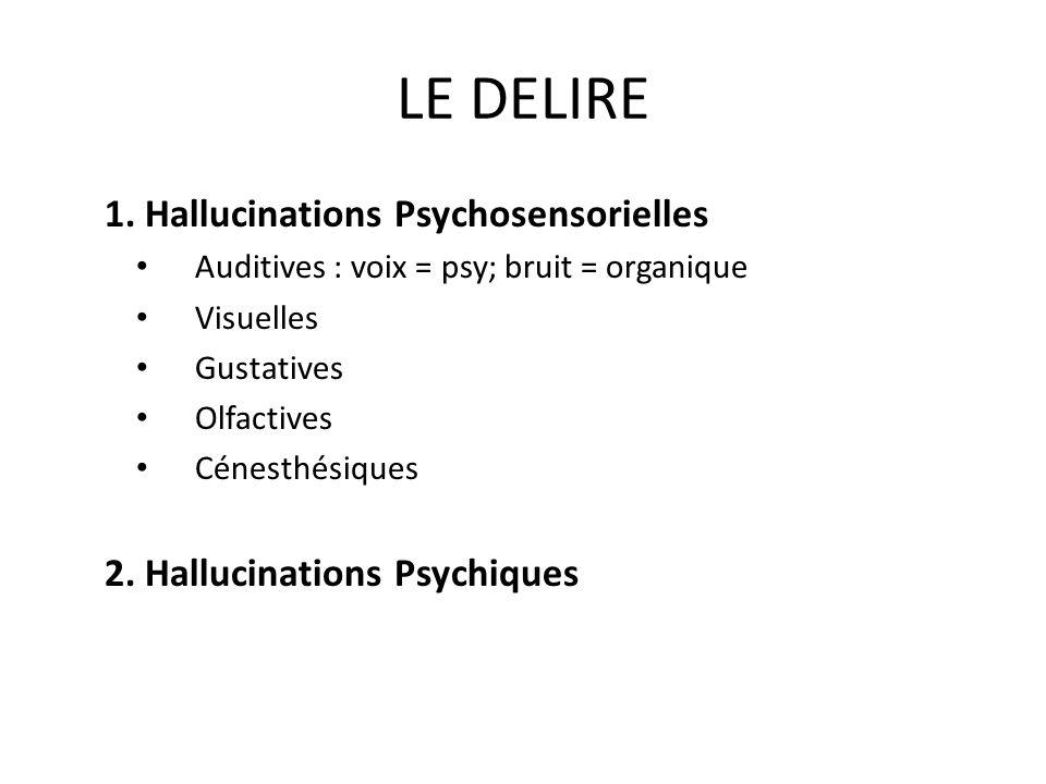 LE DELIRE 1. Hallucinations Psychosensorielles