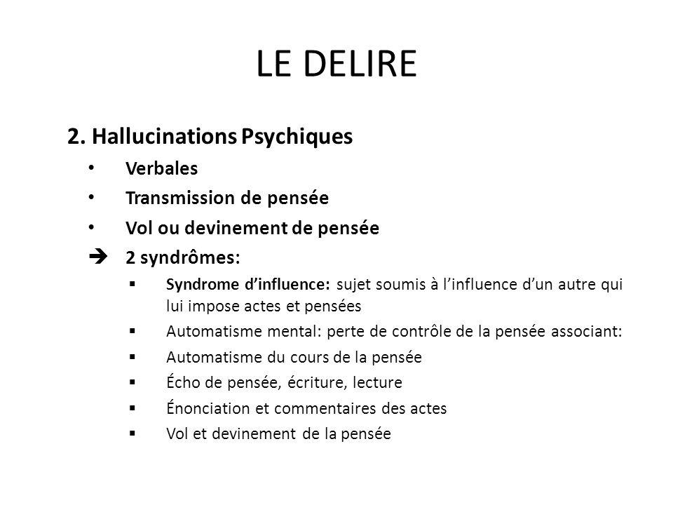 LE DELIRE 2. Hallucinations Psychiques Verbales Transmission de pensée