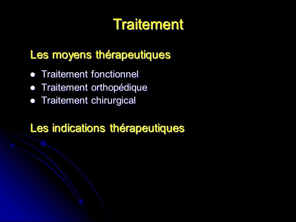 Traitement Les moyens thérapeutiques Les indications thérapeutiques