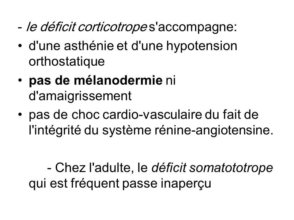 - le déficit corticotrope s accompagne:
