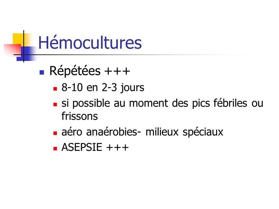 Hémocultures Répétées +++ 8-10 en 2-3 jours