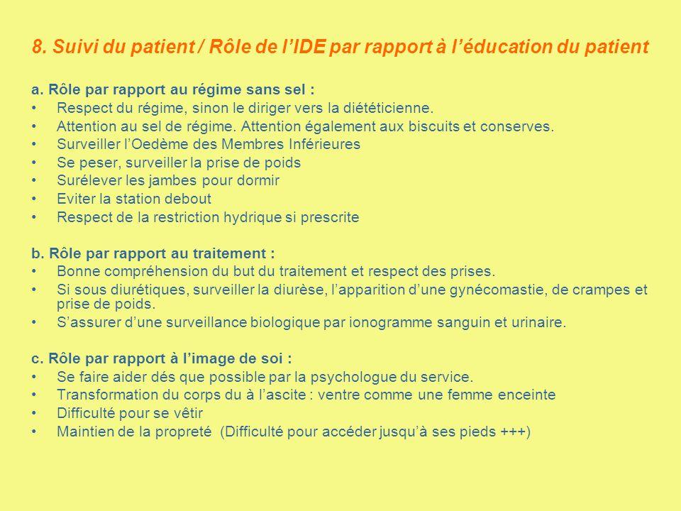 8. Suivi du patient / Rôle de l'IDE par rapport à l'éducation du patient