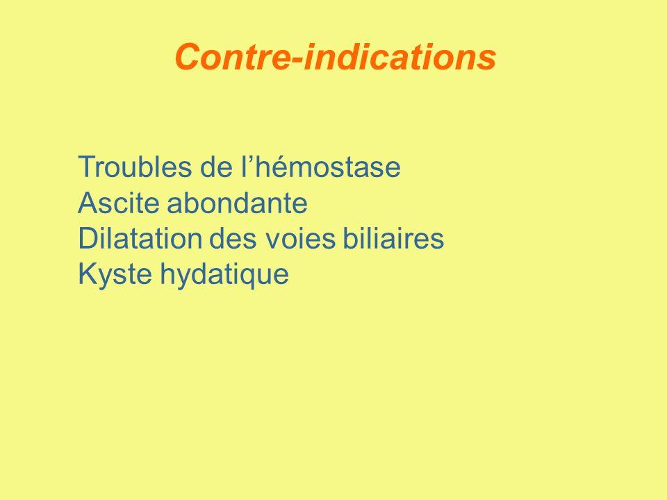 Contre-indications Troubles de l'hémostase Ascite abondante