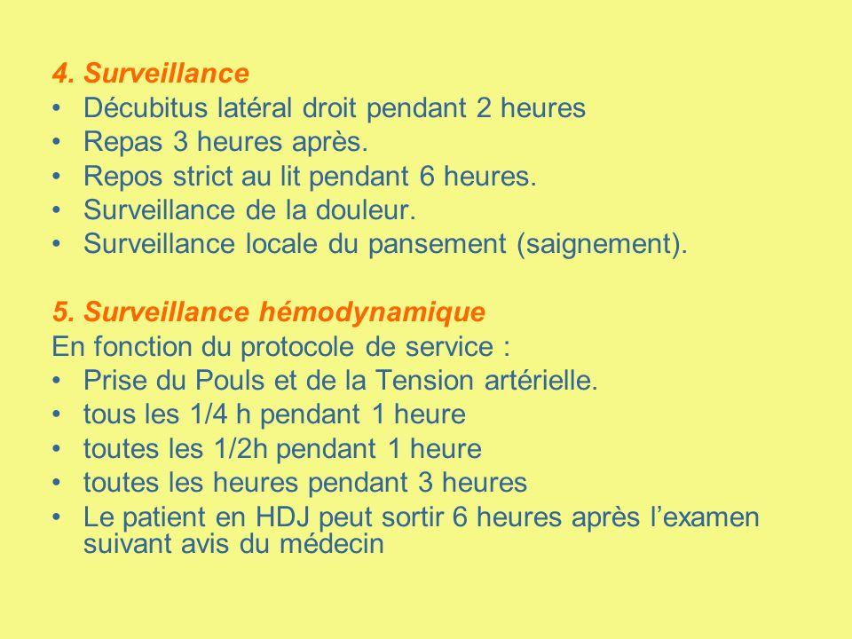 4. Surveillance Décubitus latéral droit pendant 2 heures. Repas 3 heures après. Repos strict au lit pendant 6 heures.