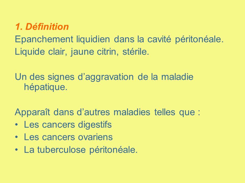 1. Définition Epanchement liquidien dans la cavité péritonéale. Liquide clair, jaune citrin, stérile.