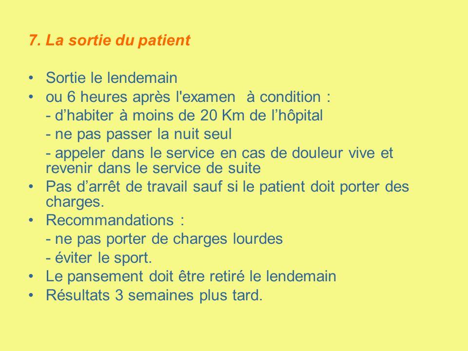 7. La sortie du patient Sortie le lendemain. ou 6 heures après l examen à condition : - d'habiter à moins de 20 Km de l'hôpital.