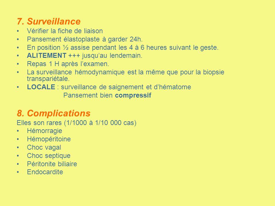 7. Surveillance 8. Complications Vérifier la fiche de liaison