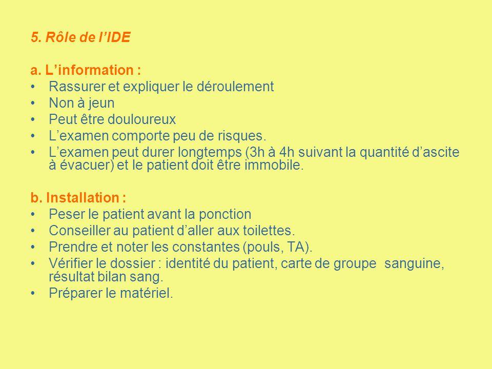 5. Rôle de l'IDE a. L'information : Rassurer et expliquer le déroulement. Non à jeun. Peut être douloureux.