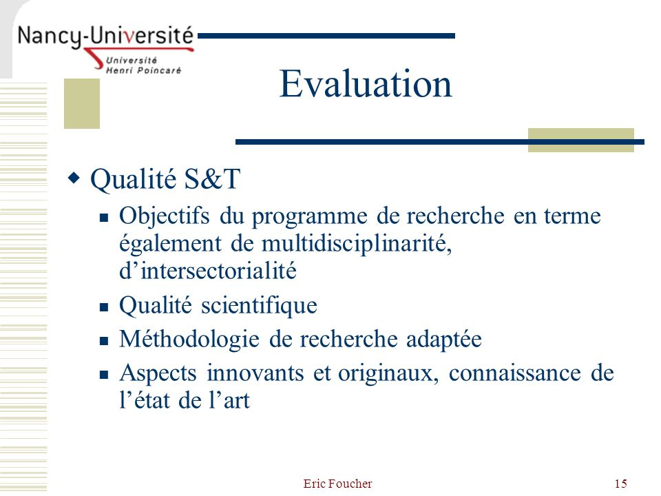 Evaluation Qualité S&T