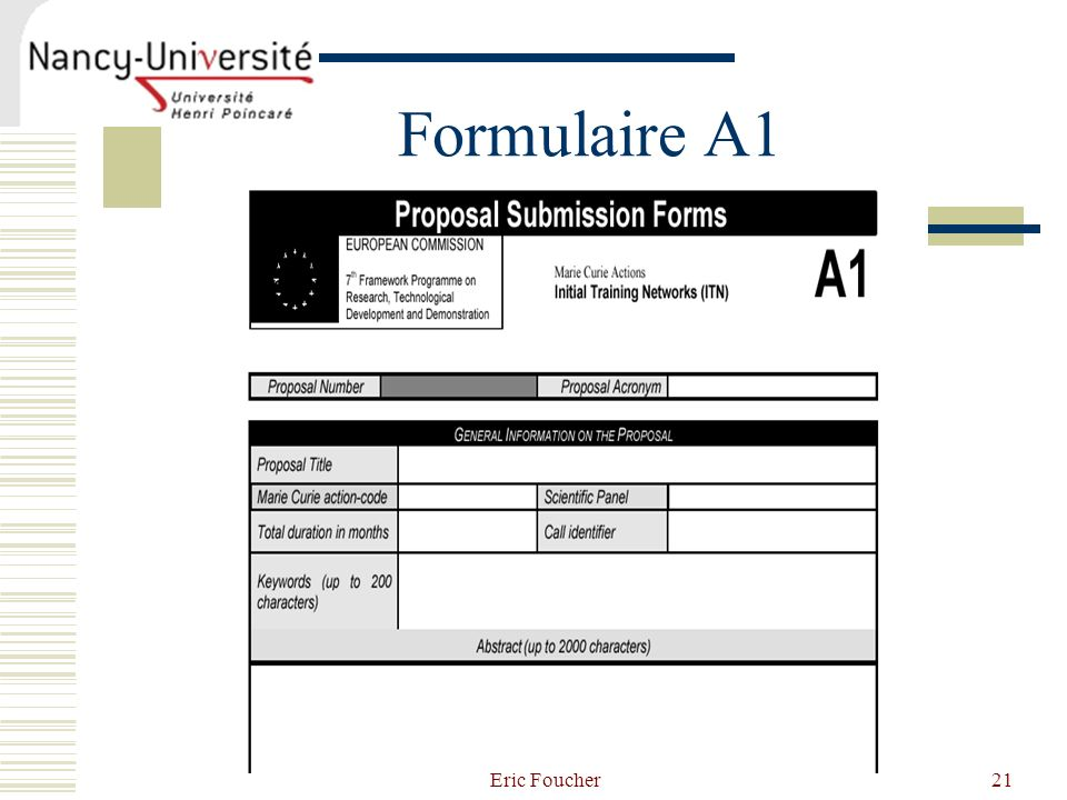Formulaire A1 Eric Foucher