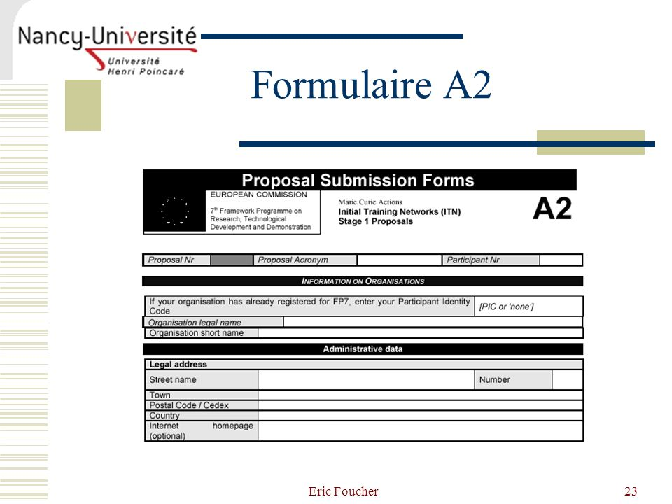 Formulaire A2 Eric Foucher