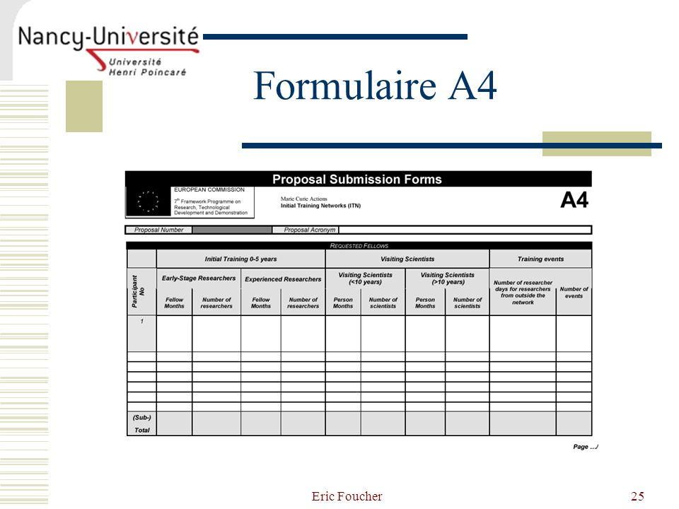 Formulaire A4 Eric Foucher