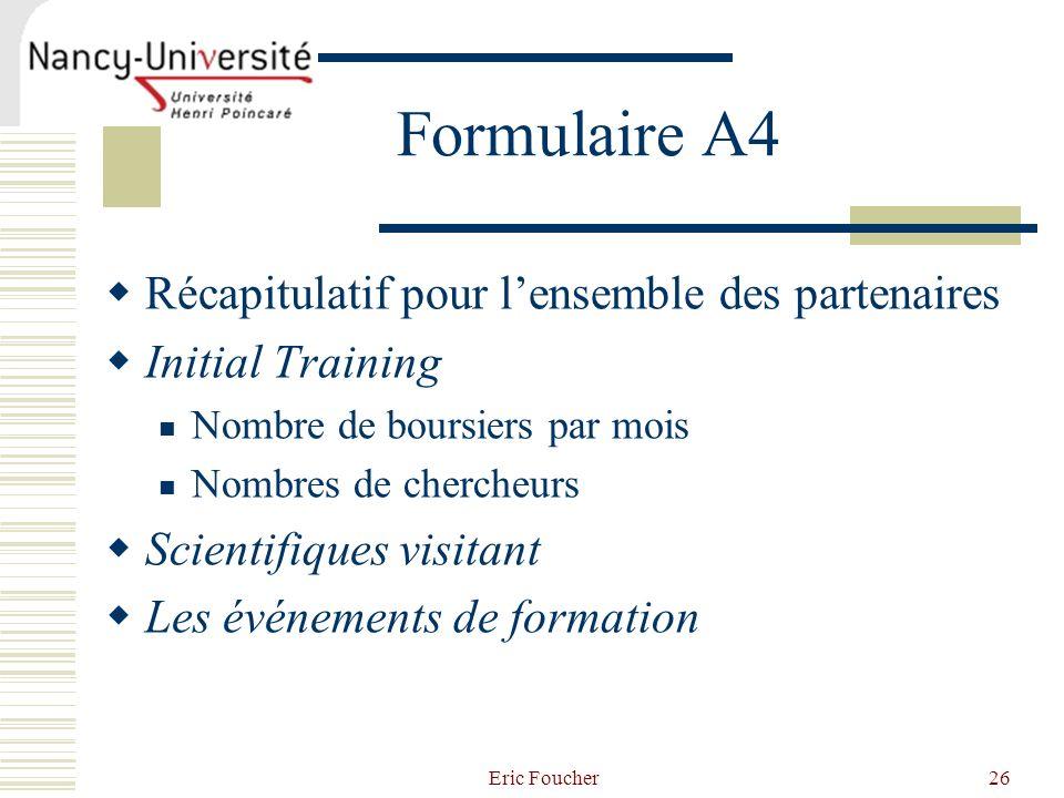 Formulaire A4 Récapitulatif pour l'ensemble des partenaires
