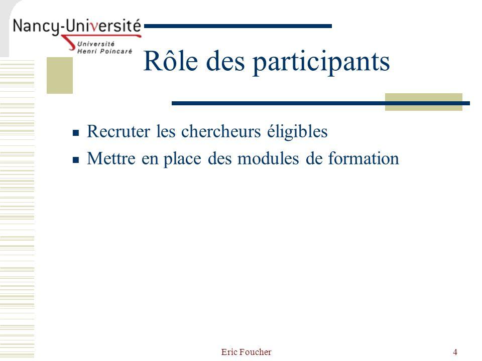 Rôle des participants Recruter les chercheurs éligibles