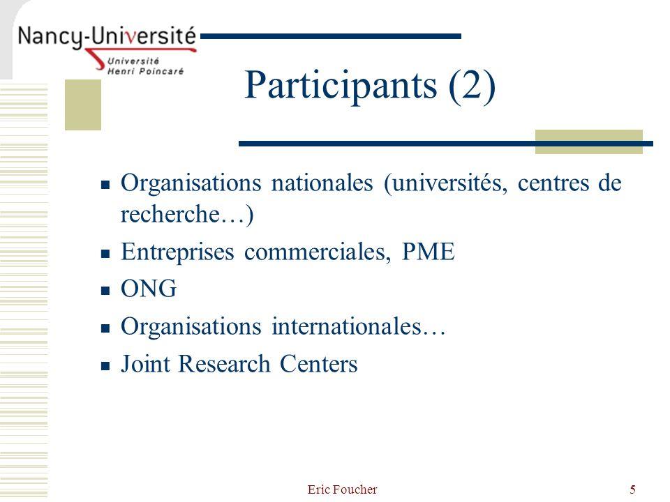 Participants (2) Organisations nationales (universités, centres de recherche…) Entreprises commerciales, PME.