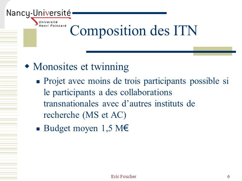 Composition des ITN Monosites et twinning
