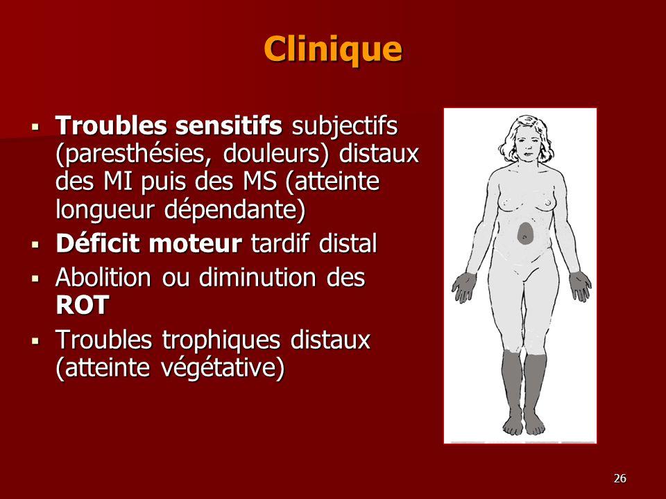 Clinique Troubles sensitifs subjectifs (paresthésies, douleurs) distaux des MI puis des MS (atteinte longueur dépendante)