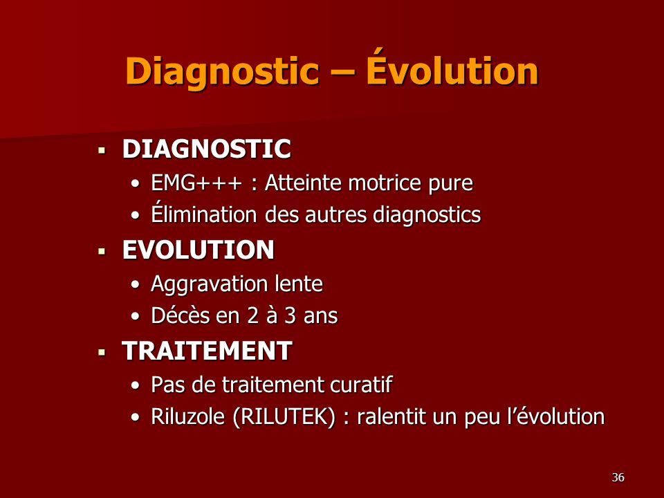 Diagnostic – Évolution