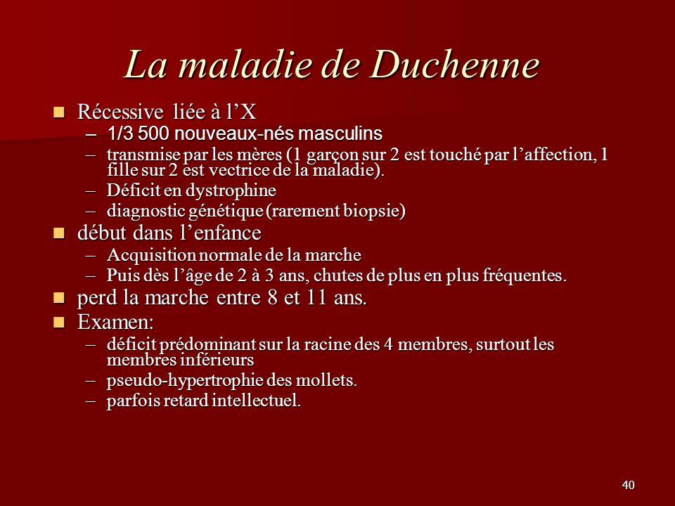 La maladie de Duchenne Récessive liée à l'X début dans l'enfance