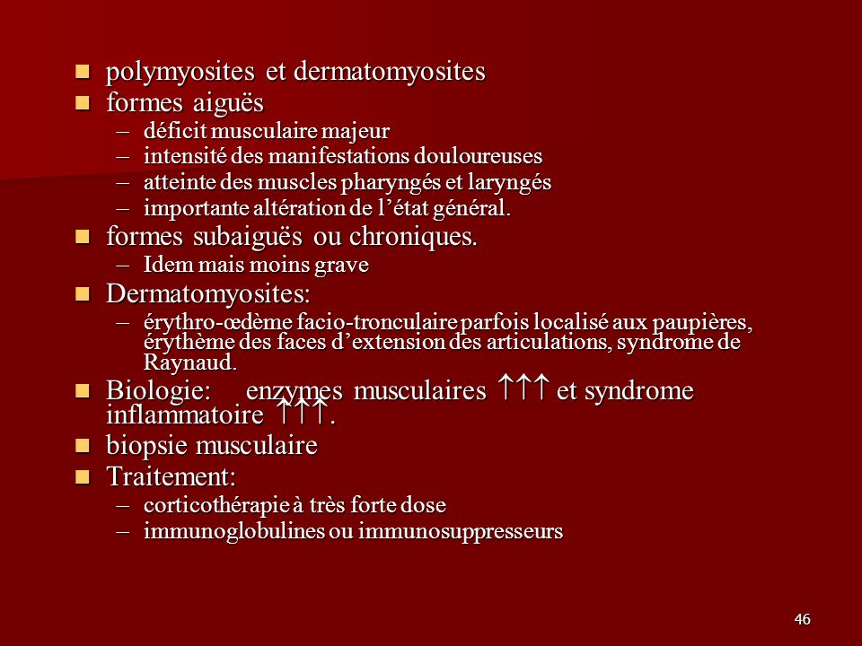polymyosites et dermatomyosites formes aiguës