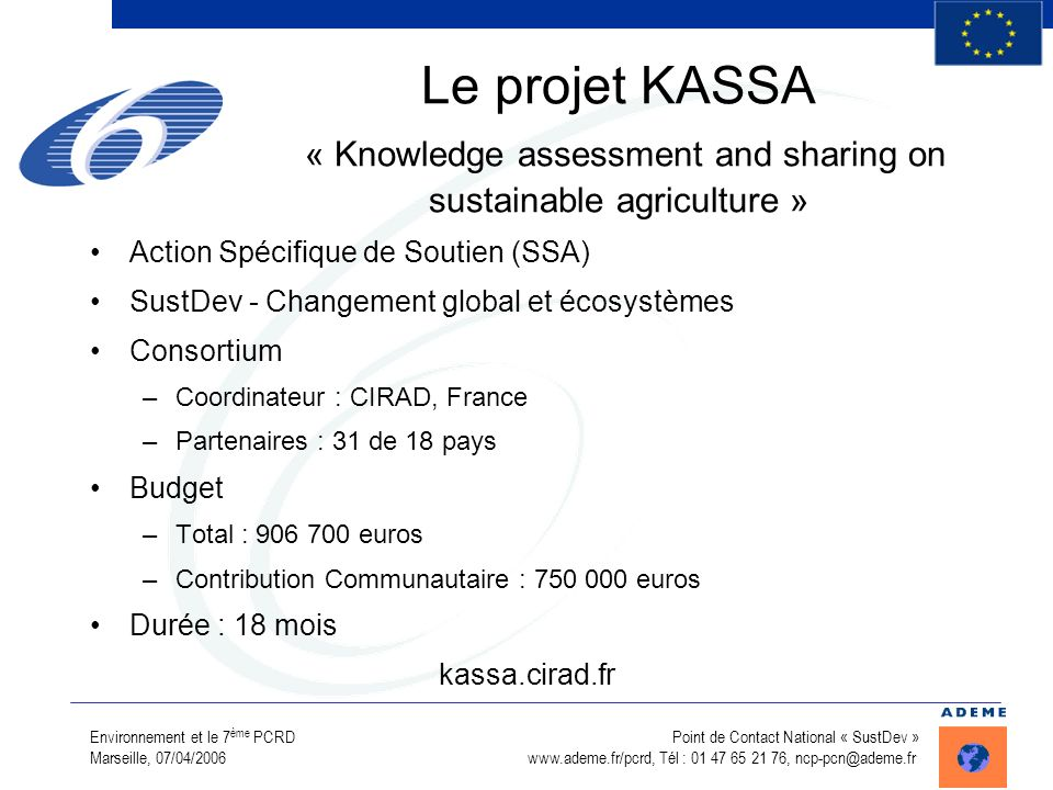 Le projet KASSA « Knowledge assessment and sharing on sustainable agriculture »