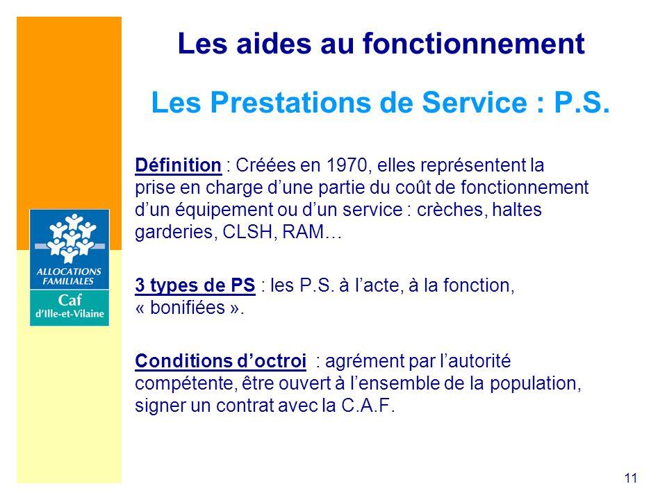 Les aides au fonctionnement Les Prestations de Service : P.S.