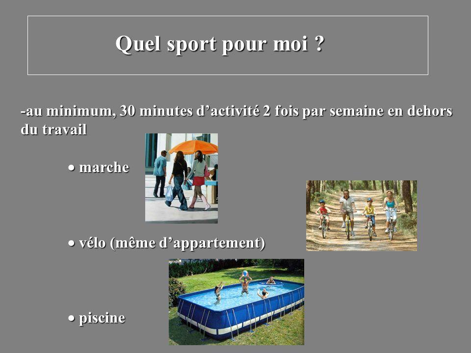 Quel sport pour moi -au minimum, 30 minutes d'activité 2 fois par semaine en dehors. du travail.