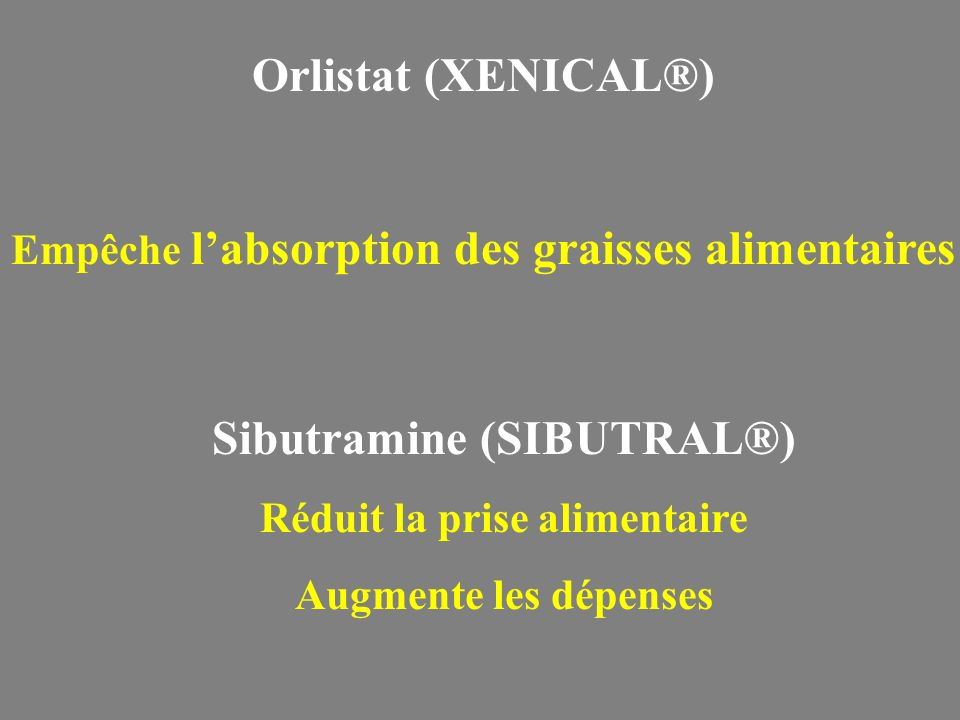 Orlistat (XENICAL®) Sibutramine (SIBUTRAL®)