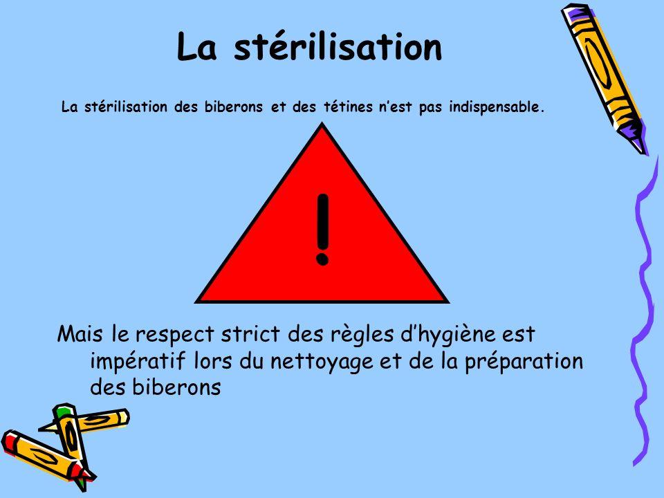 La stérilisation La stérilisation des biberons et des tétines n'est pas indispensable. !