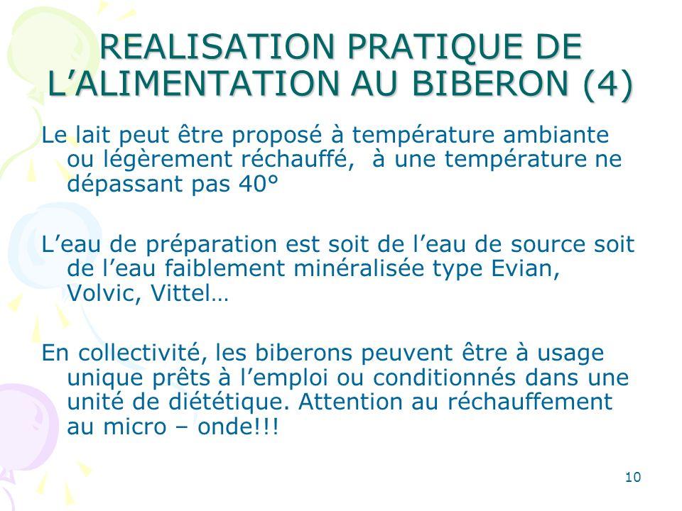 REALISATION PRATIQUE DE L'ALIMENTATION AU BIBERON (4)