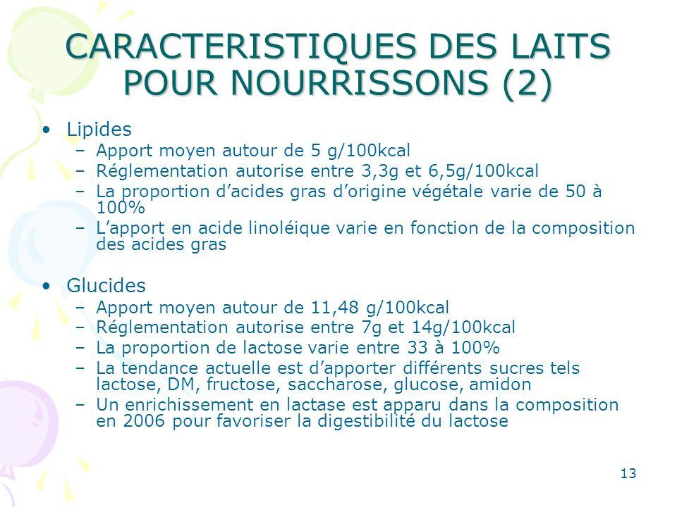 CARACTERISTIQUES DES LAITS POUR NOURRISSONS (2)