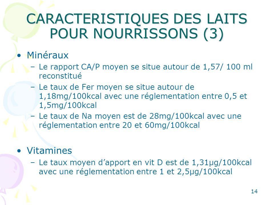 CARACTERISTIQUES DES LAITS POUR NOURRISSONS (3)