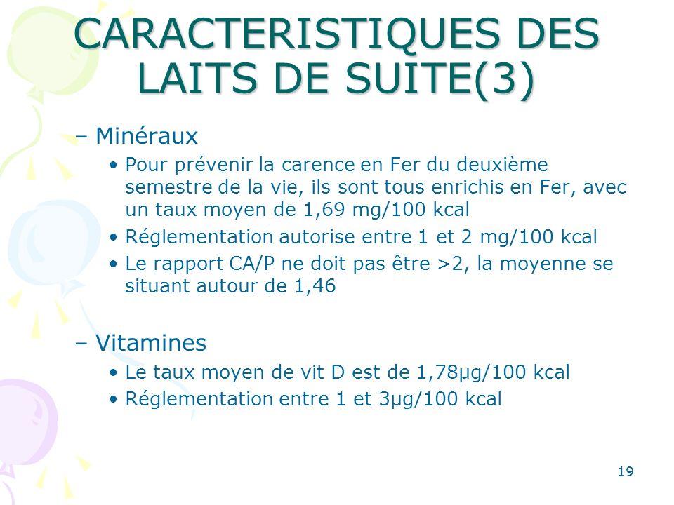 CARACTERISTIQUES DES LAITS DE SUITE(3)