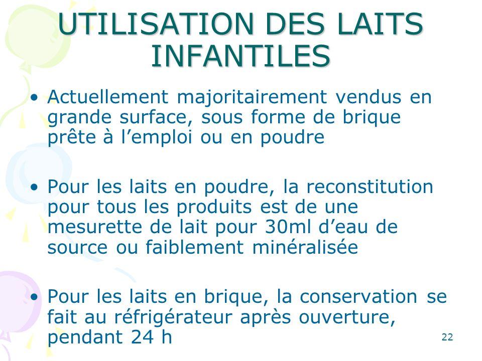 UTILISATION DES LAITS INFANTILES