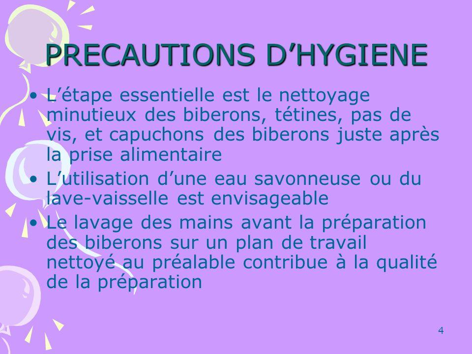 PRECAUTIONS D'HYGIENE
