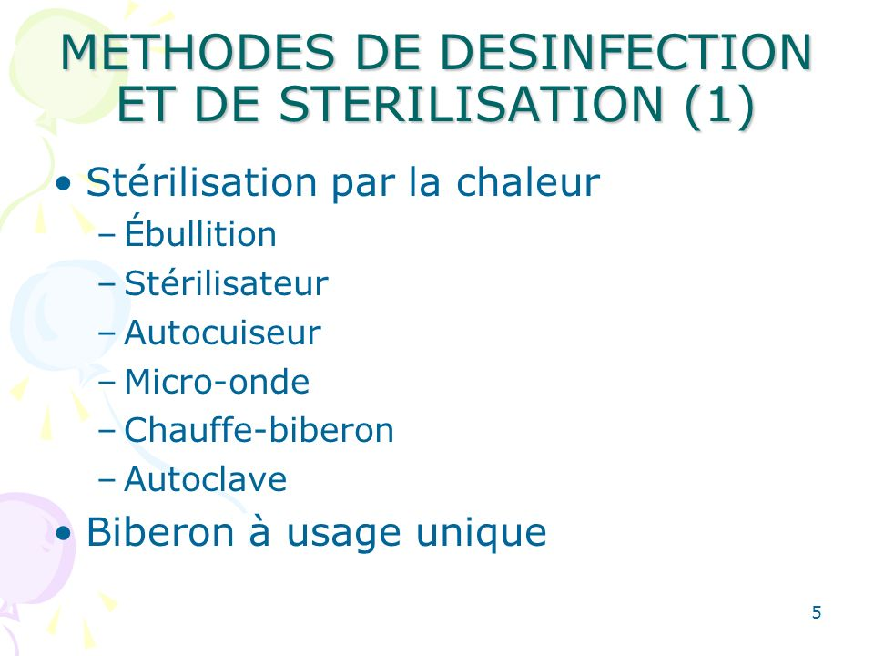 METHODES DE DESINFECTION ET DE STERILISATION (1)