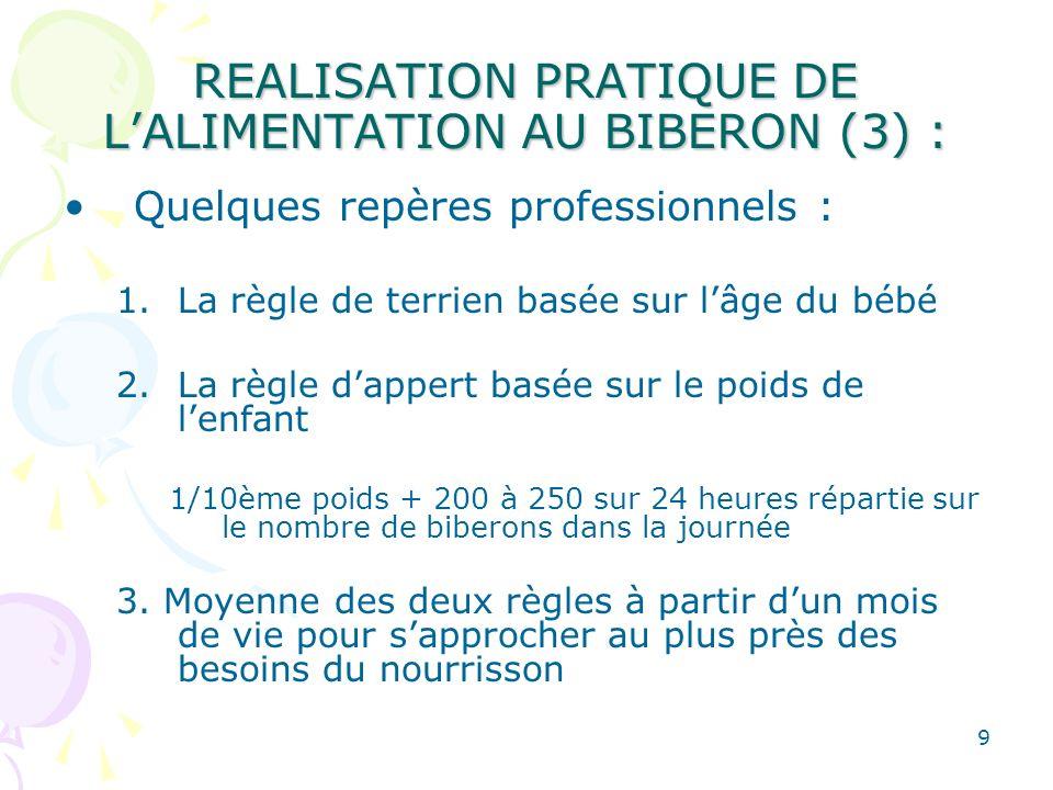 REALISATION PRATIQUE DE L'ALIMENTATION AU BIBERON (3) :