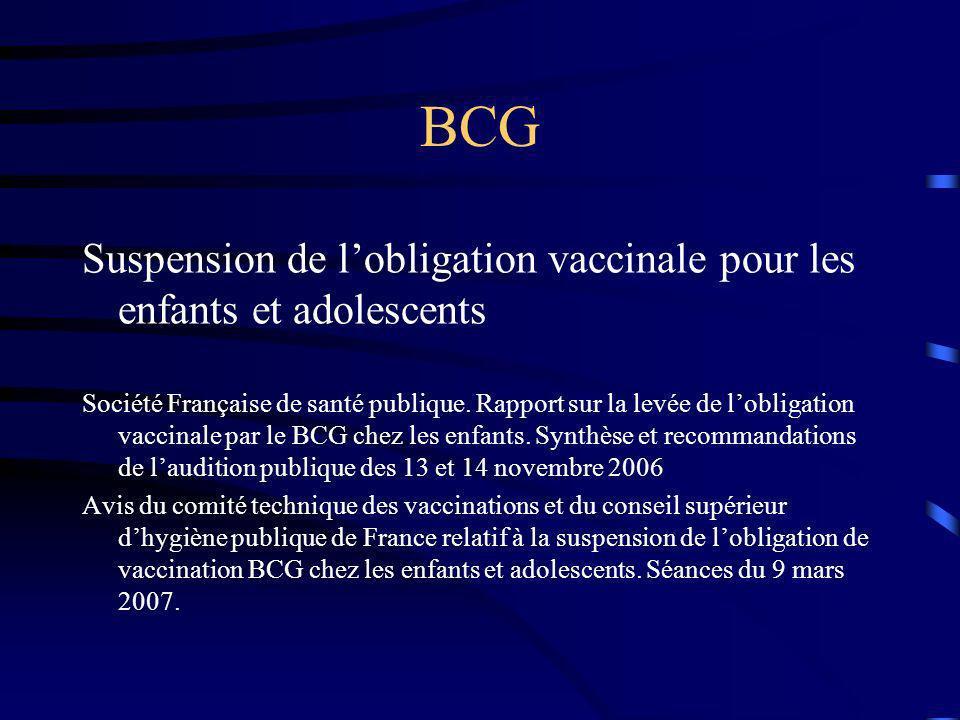 BCG Suspension de l'obligation vaccinale pour les enfants et adolescents.