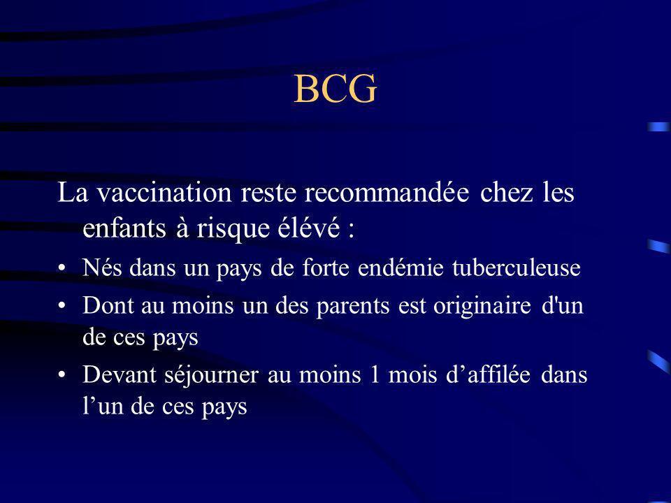BCG La vaccination reste recommandée chez les enfants à risque élévé :