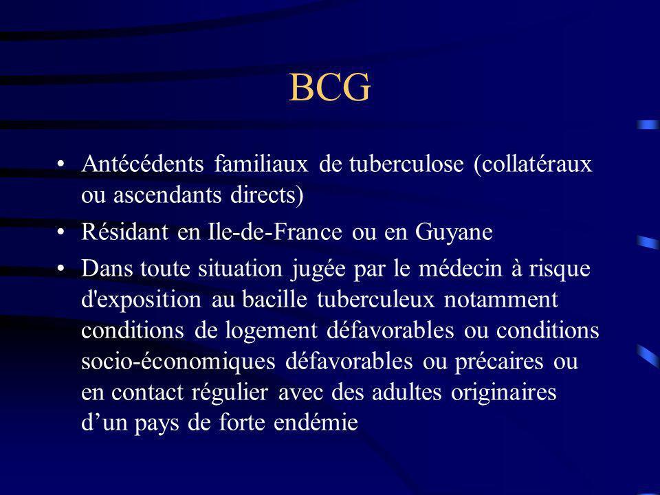 BCG Antécédents familiaux de tuberculose (collatéraux ou ascendants directs) Résidant en Ile-de-France ou en Guyane.