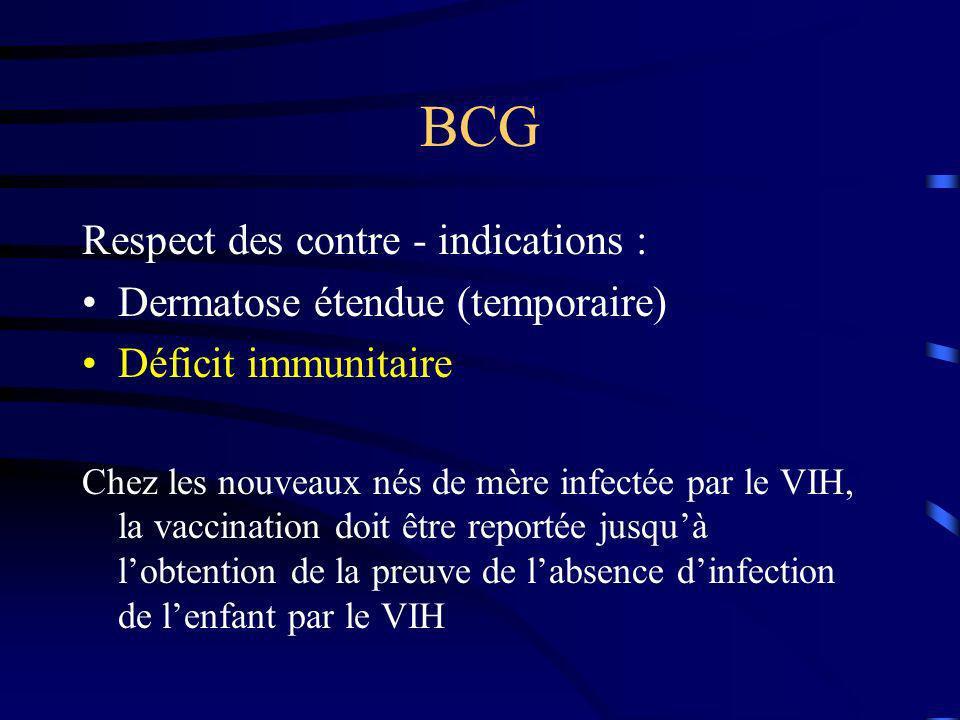 BCG Respect des contre - indications : Dermatose étendue (temporaire)