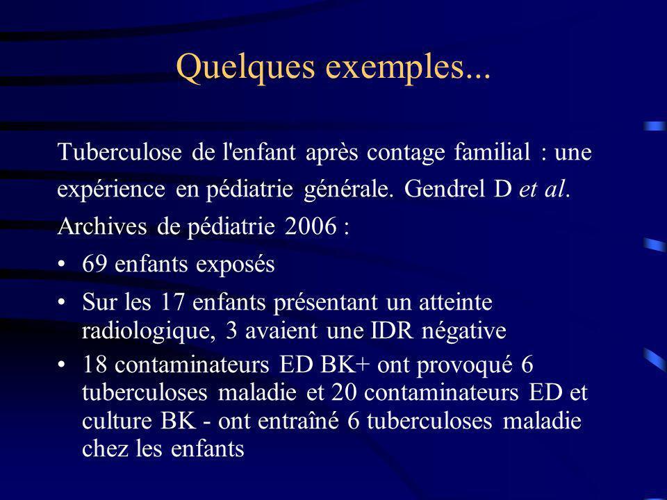 Quelques exemples... Tuberculose de l enfant après contage familial : une. expérience en pédiatrie générale. Gendrel D et al.