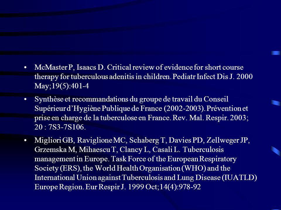 McMaster P, Isaacs D. Critical review of evidence for short course therapy for tuberculous adenitis in children. Pediatr Infect Dis J. 2000 May;19(5):401-4