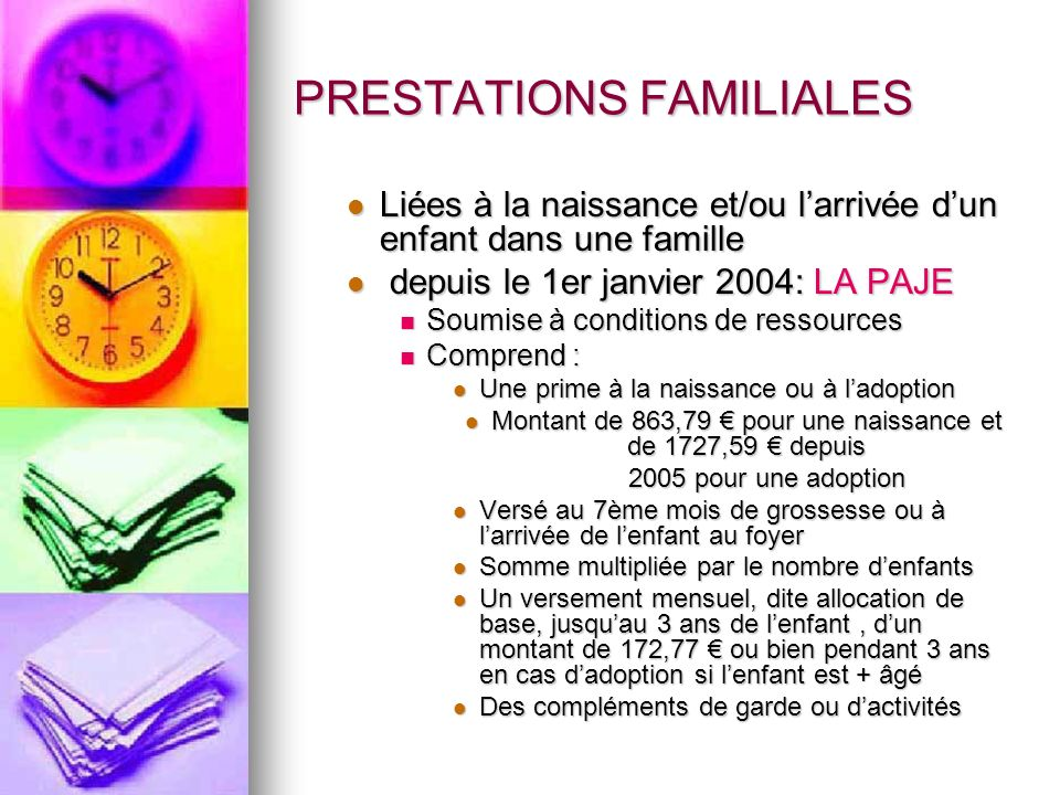 PRESTATIONS FAMILIALES