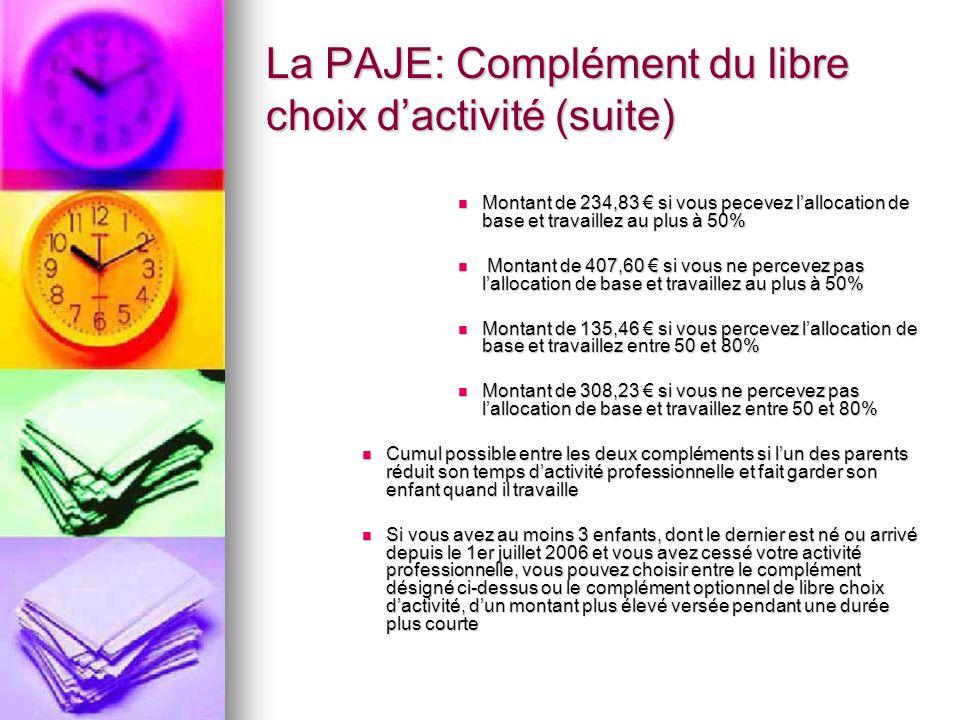 La PAJE: Complément du libre choix d'activité (suite)
