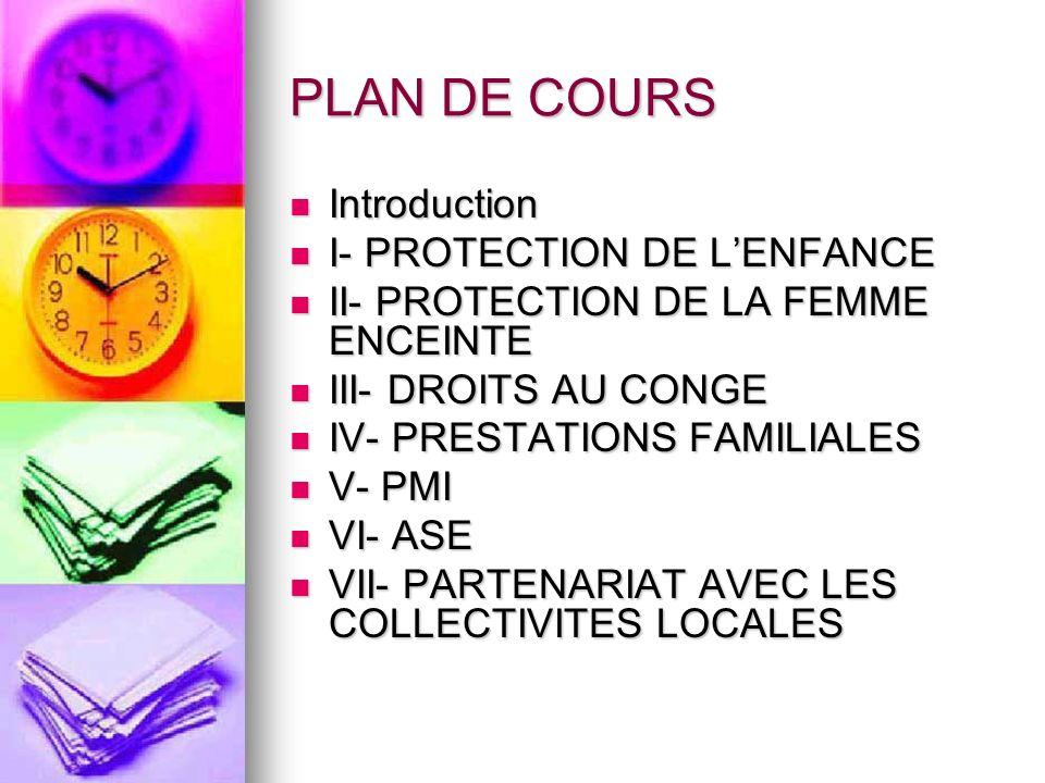 PLAN DE COURS Introduction I- PROTECTION DE L'ENFANCE