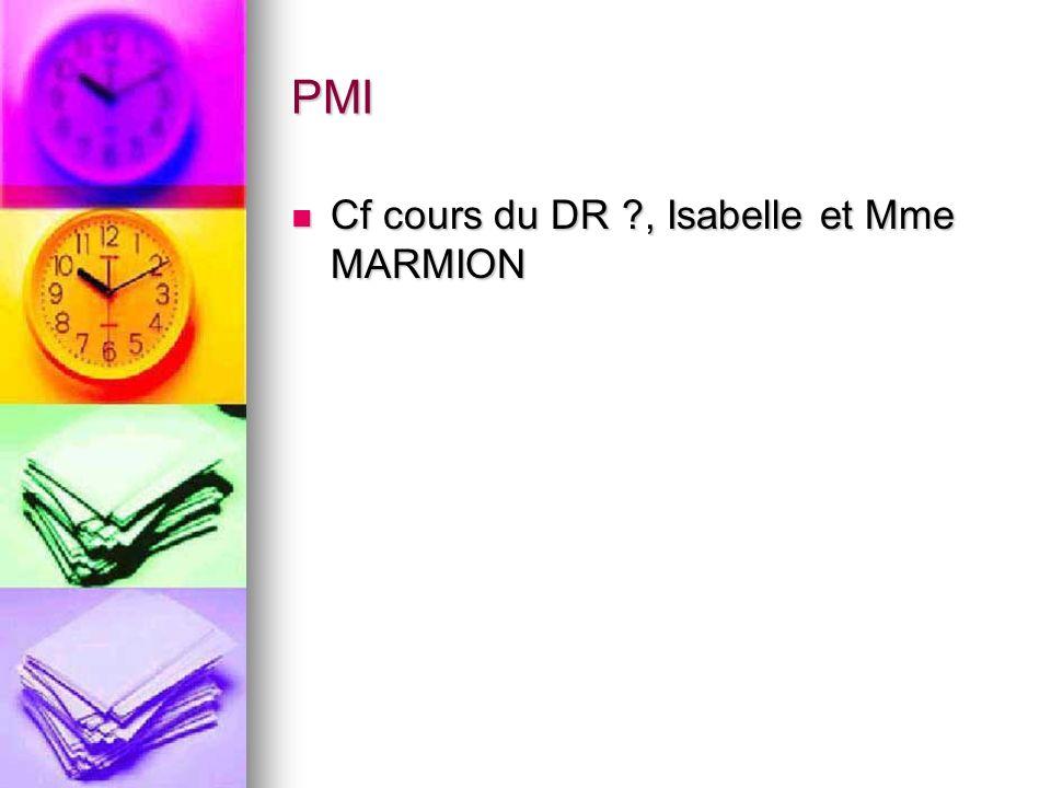 PMI Cf cours du DR , Isabelle et Mme MARMION