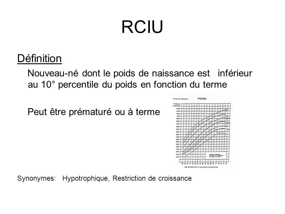 RCIU Définition. Nouveau-né dont le poids de naissance est inférieur au 10° percentile du poids en fonction du terme.
