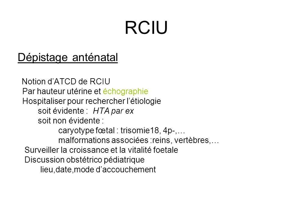 RCIU Dépistage anténatal Par hauteur utérine et échographie