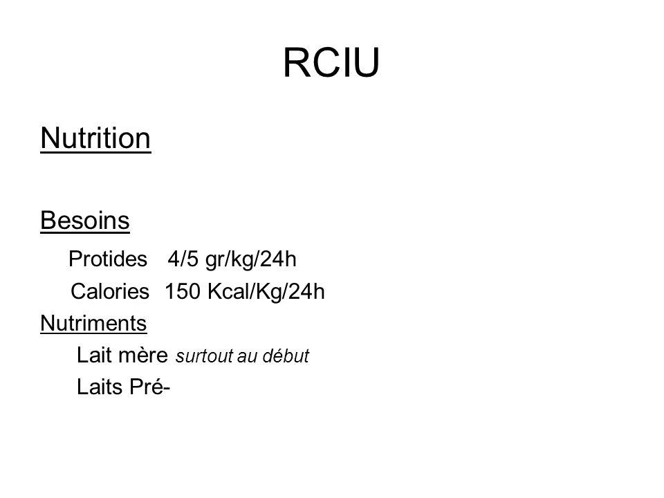 RCIU Nutrition Besoins Protides 4/5 gr/kg/24h Calories 150 Kcal/Kg/24h